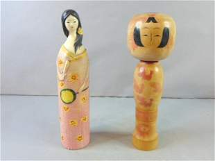 Collectible Japanese Kokeshi Doll & Bottle Cover Doll