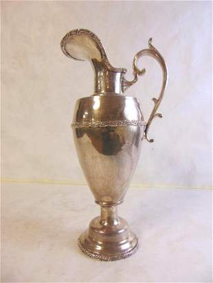 VINTAGE ANTIQUE STERLING  SILVER WATER PITCHER EWER