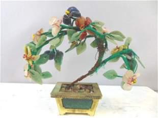 VINTAGE CHINESE JADE TREE FLOWER POT