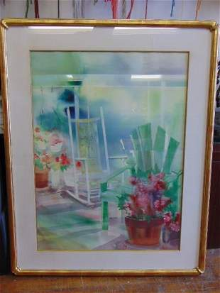 Vintage Modern Abstract Floral Watercolor B. Nechis
