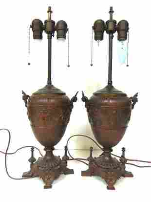 PR OF ANTIQUE FRENCH VICTORIAN ART NOUVEAU STYLE LAMPS