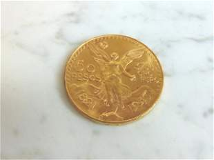 ESTATE FIND 1947 FIFTY PESOS MEXICAN GOLD COIN