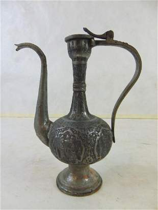 Small Decorative Antique Middle Eastern Copper Tea Pot