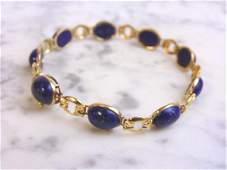 Womens Vintage Estate 14k Gold Blue Lapis Bracelet