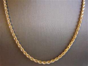 Vintage Estate 14K Yellow Gold Rope Necklace