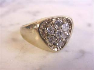 Mens Vintage Estate 14k White Gold Diamond Ring