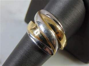Vintage 14K White and Yellow Gold Ring W/ Modern Design