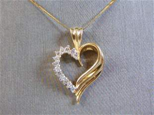 Vintage 14K Fine Gold Necklace w/ Diamond Heart Pendant