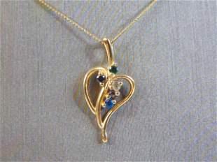 14K Fine Gold Necklace & Heart Pendant w/ Stones