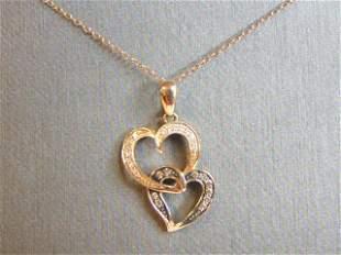 Womens 14K Gold Necklace w/ Heart Diamond Pendant