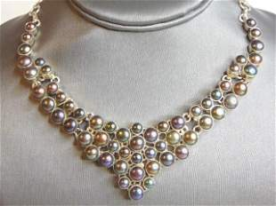 Womens Vintage  Sterling Silver Faux Pearl Necklace