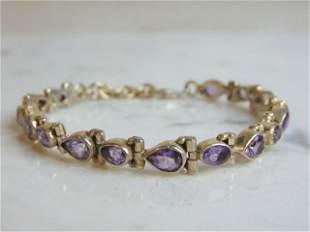 Womens Vintage Estate Sterling Silver Amethyst Bracelet