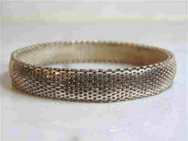 Womens Vintage Estate Sterling Silver Mesh Bracelet