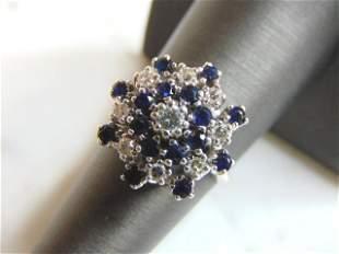 Womens Vintage 14K White Gold Sapphire & Diamond Ring
