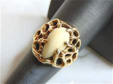 Womens Vintage Estate 14K Yellow Gold Bone Ring