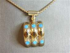 Womens Vintage Estate Opal Pendant W/ Necklace