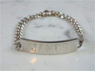 Mens Vintage Estate Sterling Silver James ID Bracelet