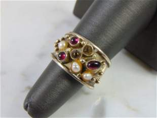Womens Vintage Estate Sterling Silver Multi Stone Ring