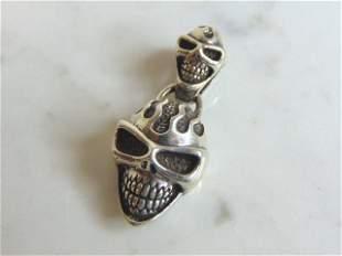 Vintage Estate Sterling Silver Gothic Skull Pendant