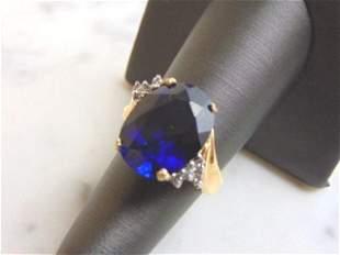 Women's Vintage Estate 14K Gold Sapphire & Diamond Ring