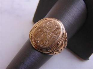 Mens Vintage Estate 10K Yellow Gold Signet Ring