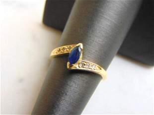 Womens Vintage 14k Yellow Gold Sapphire & Diamond Ring