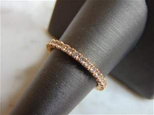 Womens Vintage Estate 18K Rose Gold Ring w/ CZ Crystals