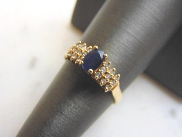 Womens 14K Gold Sapphire Diamond Ring