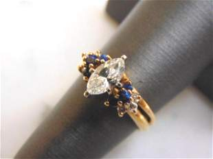 Womens Vintage 14K Gold Marquise Diamond Sapphire Ring