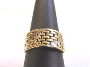 Mens 14K Yellow & White Gold Cigar Band Ring