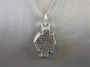 Mens Sterling Silver Harley Davidson Pendant & Necklace