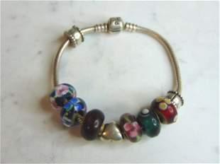 Womens Vintage Sterling Silver Pandora Charm Bracelet