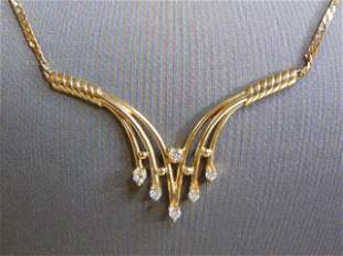 Womens Vintage Estate 14k Gold Diamond Necklace