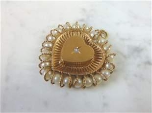 14K Yellow Gold Diamond Heart Locket Pendant