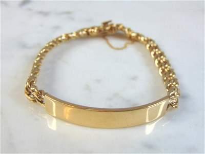Vintage Estate 18K Yellow Gold ID Bracelet