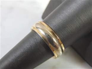 Vintage Estate 14K White Yellow Gold Wedding Band Ring