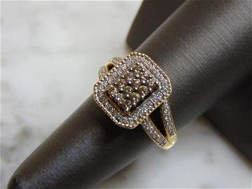Womens Estate 14K Yellow Gold Chocolate Diamond Ring