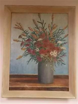 ANTIQUE GODFREY BIEHL LISTED ARTIST FLORAL OIL PAINTING