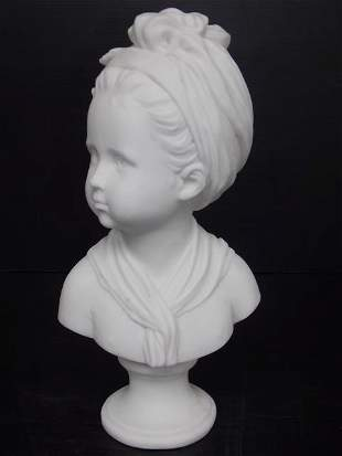 VICTORIAN BUST STATUE OF LITTLE GIRL W/ MARBLE FINISH