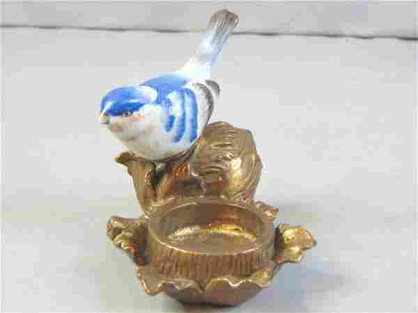 Blue Bird Porcelain and Bronze Candle Holder