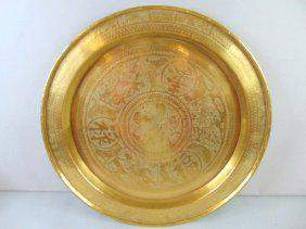 Large Vintage Antique Chinese Buddha Brass Tray