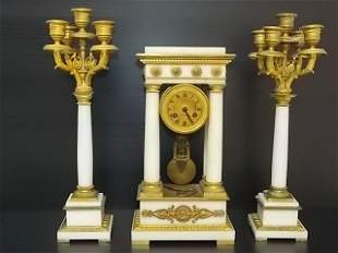 VICTORIAN FRENCH TIFFANY & CO CLOCK W/ CANDLEABRAS