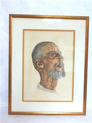 VINTAGE WATERCOLOR PAINTING OF MIDDLE EASTERN MAN