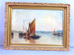 ANTIQUE SEASCAPE PAINTING BY LISTED ARTIST M. BOPP