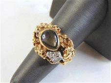Womens Estate 14k Yellow Gold Nugget Diamond Ring