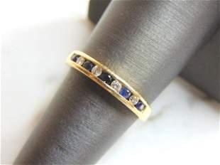 Womens 14k Yellow Gold Sapphire & Diamond Ring