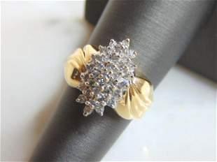 Womens Vintage Estate 14K Gold Diamond Cluster Ring