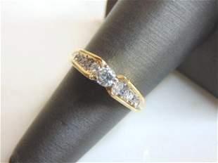 Womens 14K Yellow Gold Diamond Anniversary Ring