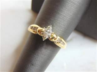 14K Yellow Gold Marquise Diamond Anniversary Ring