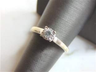 Womens Vintage 10K White Gold Ring Diamond Ring